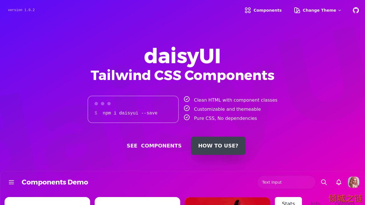 倾城之链 - DaisyUI - Tailwind CSS Components
