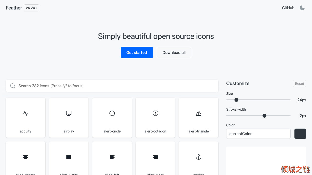 Feather – Simply beautiful open source icons 倾城之链