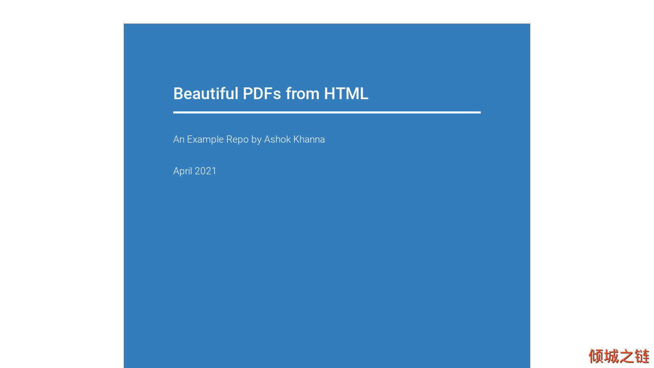 倾城之链 - Beautiful PDFs from HTML