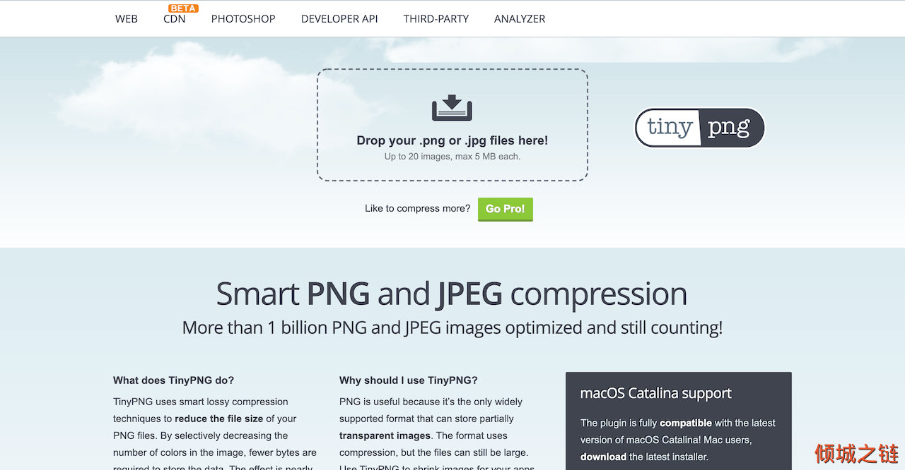 TinyPNG – Compress PNG images while preserving transparency 倾城之链