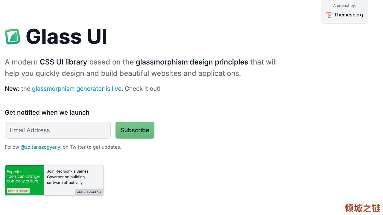 倾城之链 - Glass UI - The definitive CSS UI library for glassmorphism