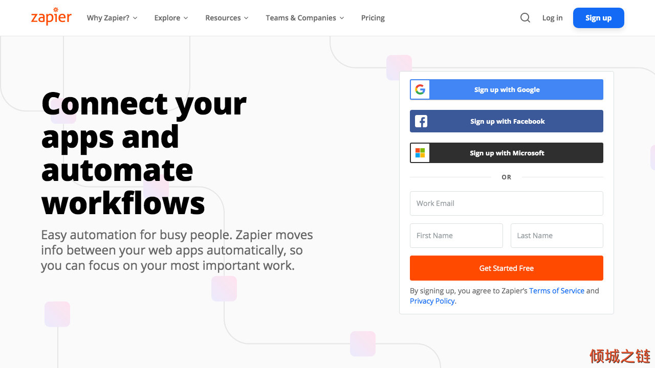 倾城之链 - Zapier | The easiest way to automate your workMicrosoft Logo
